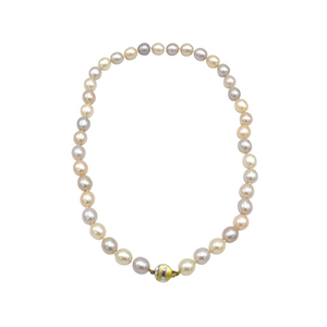 9ct Yellow Gold, Multicoloured Pearl Necklace