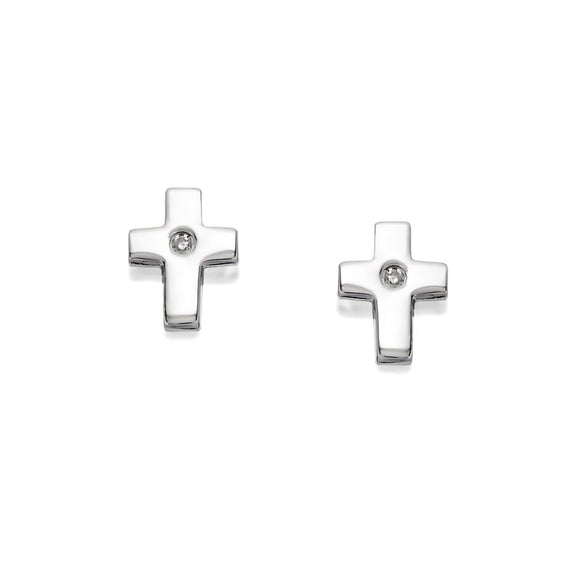 D for Diamond Children's Sterling Silver Cross Earrings