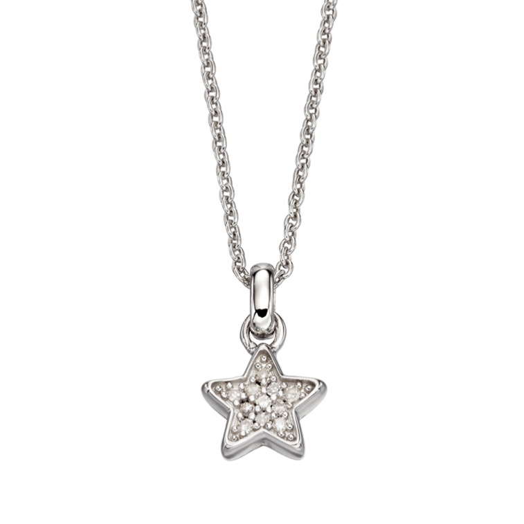 Sterling Silver and Diamond Children's Star Pendant and Chain - Maudes The Jewellers