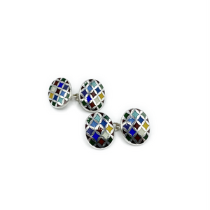 Load image into Gallery viewer, Philip Kydd Sterling Silver Harlequin Cufflinks