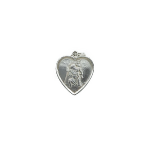 Sterling Silver Heart St Christopher (No Chain)