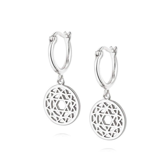 Daisy Heart Chakra Earrings Silver - Maudes The Jewellers