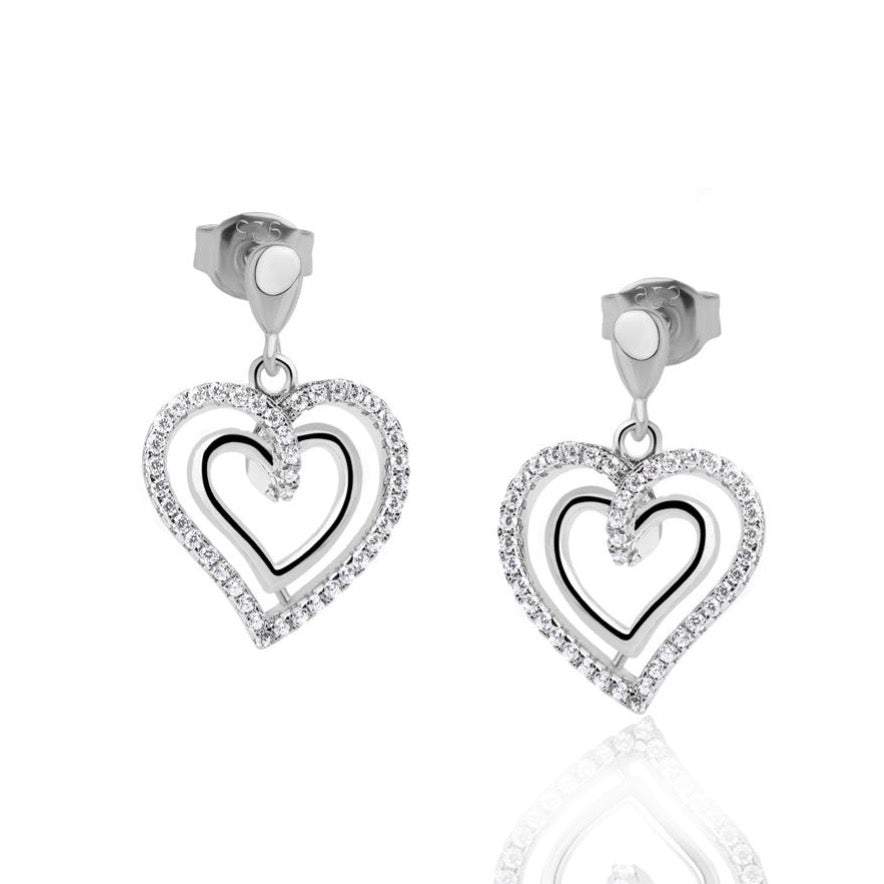 Load image into Gallery viewer, Real Effect Sterling Silver Heart Drop Earrings