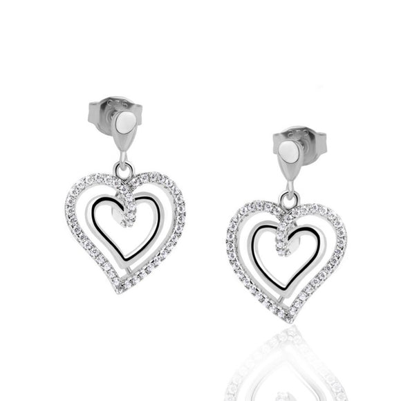 Real Effect Sterling Silver Heart Drop Earrings