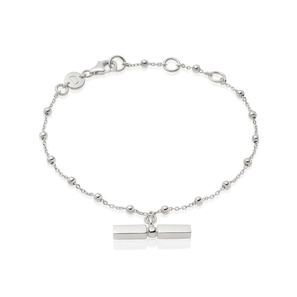 Daisy London Stacked Silver T Bar Bobble Bracelet - Maudes The Jewellers