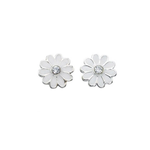 Clear Crystal White Enamel Daisy Stud Earrings