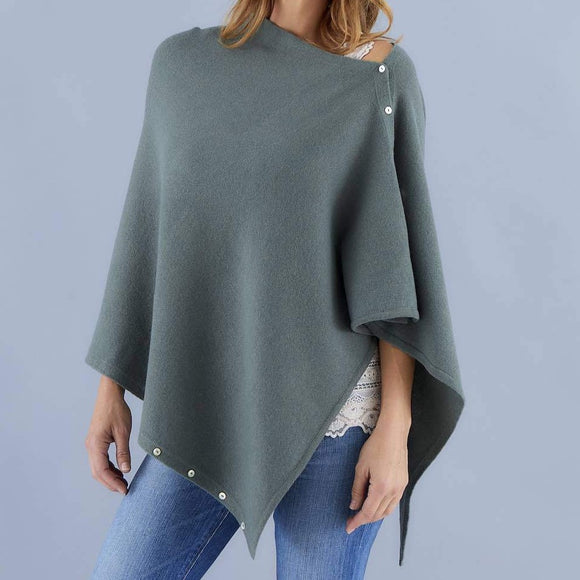 Love Molly - Khaki - Wool, Silk & Cashmere Poncho