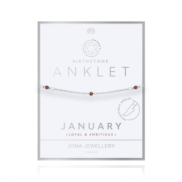 Joma Jewellery Birthstone Anklet - January Garnet