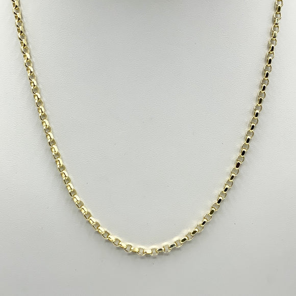"9ct Yellow Gold Diamond Cut Belcher Chain 18"" - Maudes The Jewellers"