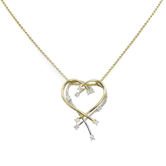 9ct Yellow and White Gold Diamond Heart Pendant and Chain