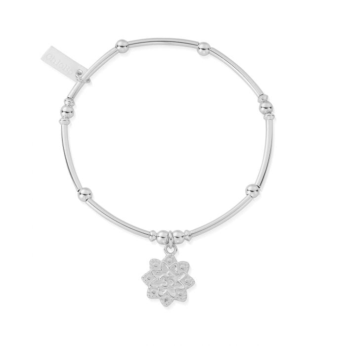 ChloBo Mini Noodle Ball Flower Om Bracelet - Silver - Maudes The Jewellers