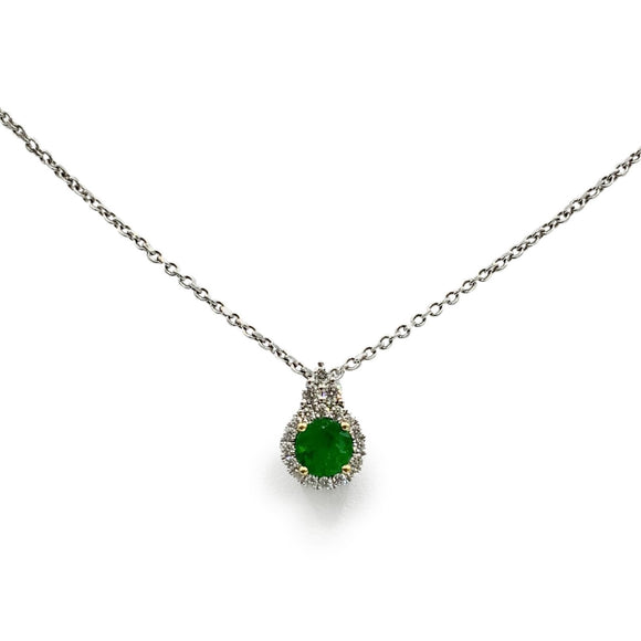 18ct White Gold, Emerald and Diamond Pendant and Chain