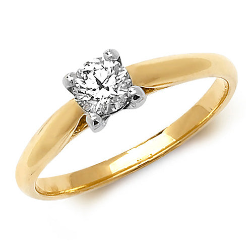 18ct Yellow Gold, Diamond Solitaire Engagement Ring