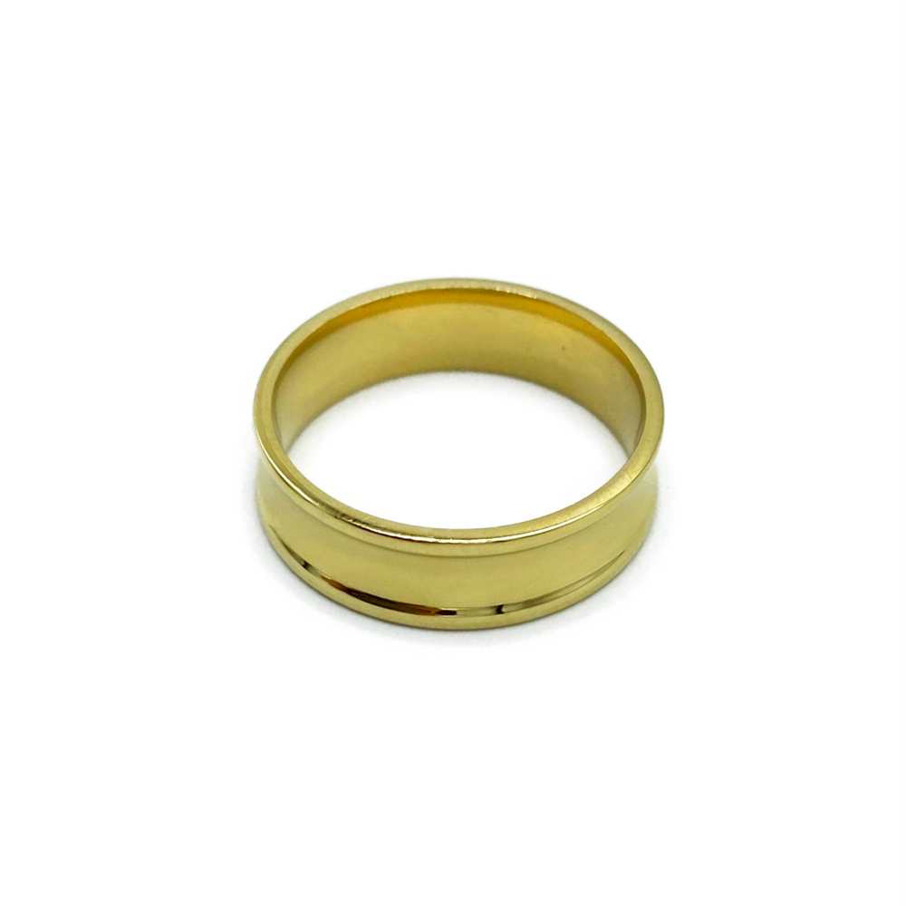 9ct Yellow Gold Concave Gents Wedding Ring 6mm