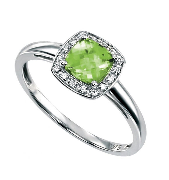 9ct White Gold Diamond and Peridot Ring