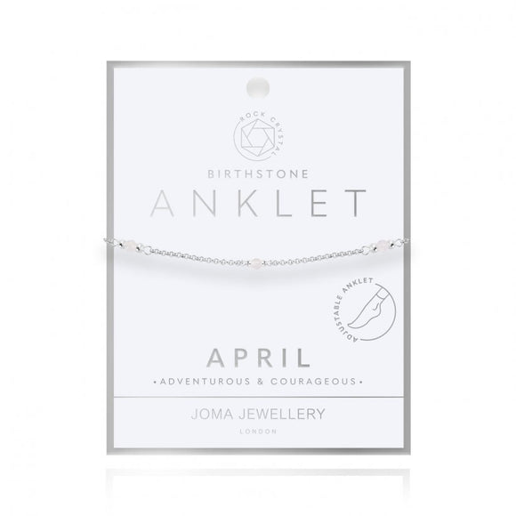 Joma Jewellery Birthstone Anklet - April Rock Crystal