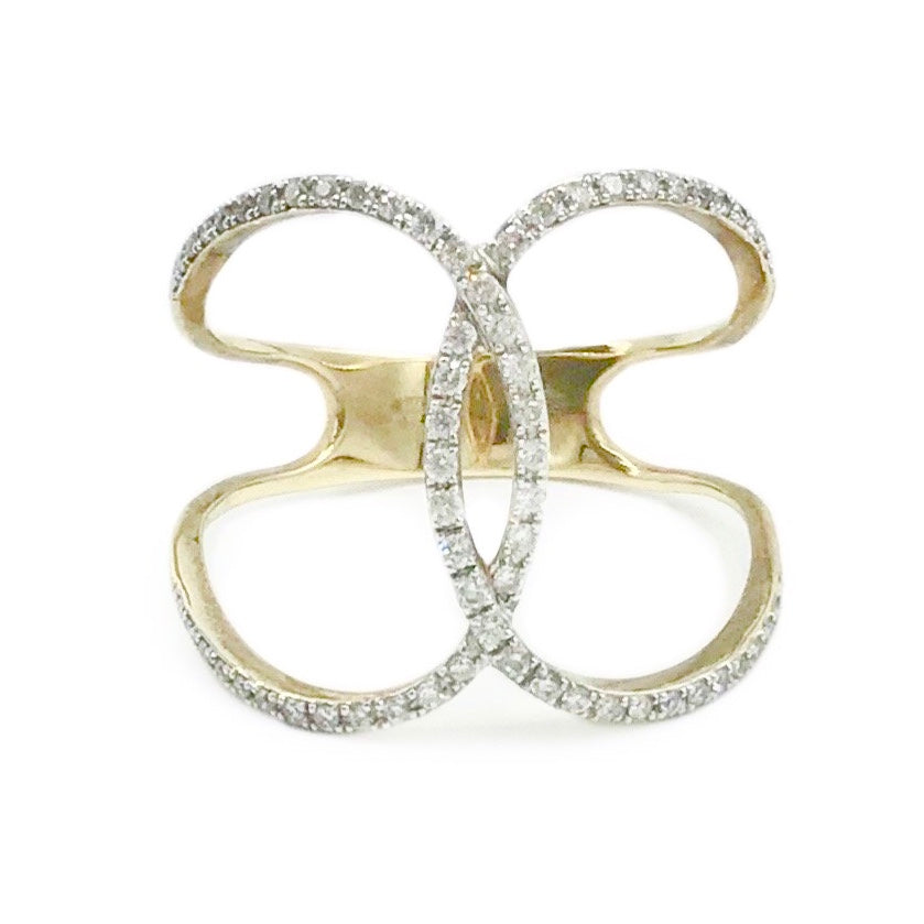 9ct Yellow Gold and Diamond Dress Ring