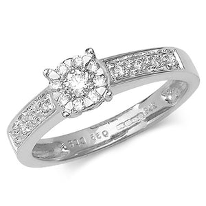 Load image into Gallery viewer, 9ct White Gold, Diamond Illusion Solitaire Ring