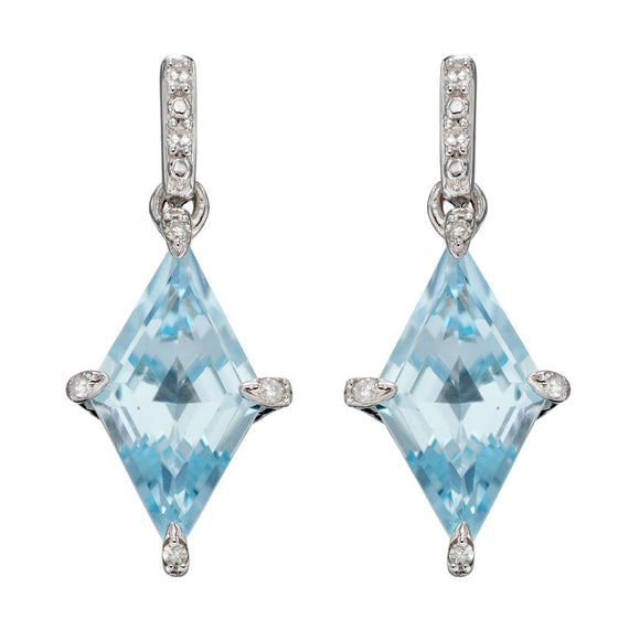 9ct White Gold, Topaz and Diamond Drop Earrings