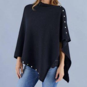 Love Molly - Black - Wool, Silk & Cashmere Poncho