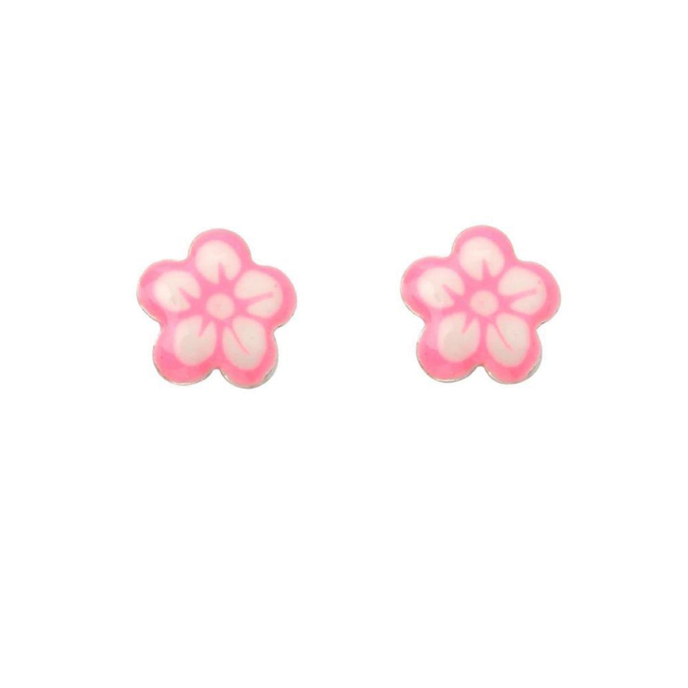 Sterling Silver Pink Enamel Flower Stud Earrings
