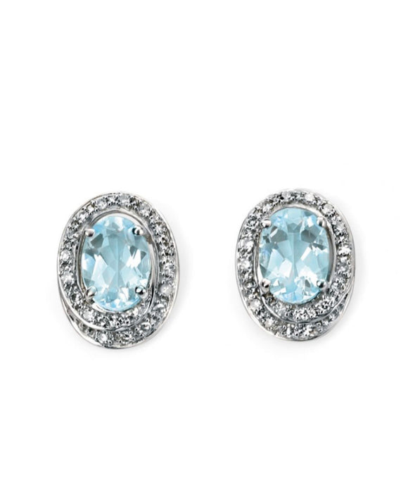9ct White Gold Aquamarine and Diamond Stud Earrings