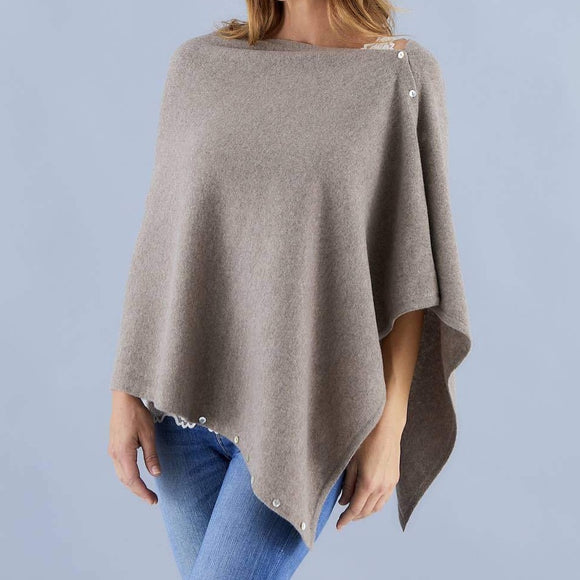 Love Molly - Oatmeal - Wool, Silk & Cashmere Poncho