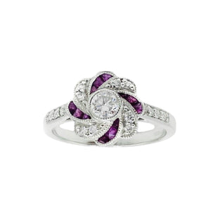 Load image into Gallery viewer, 18ct White Gold,  Ruby and Diamond Swirl Ring