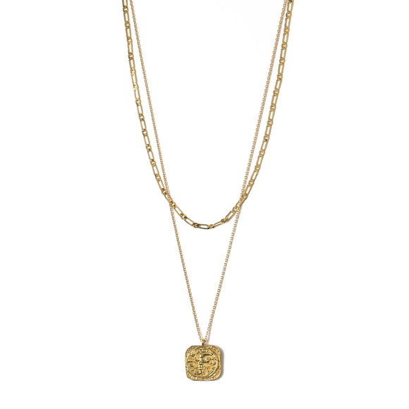 Orelia Square Coin Two Row Necklace