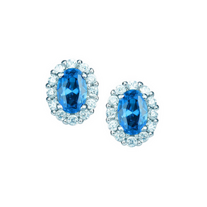 Real Effect Sterling Silver Blue Cubic Zirconia Earrings