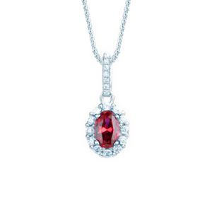 Real Effect Sterling Silver Ruby Cubic Zirconia Pendant
