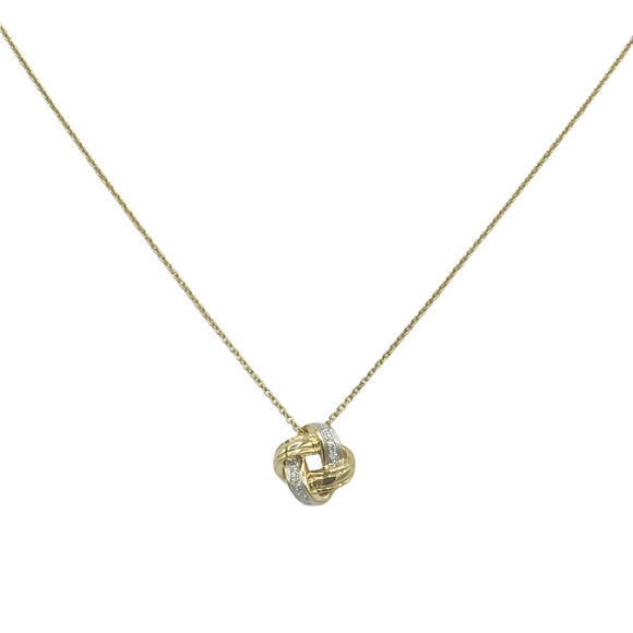 9ct Yellow Gold, Diamond Knot Pendant and Chain