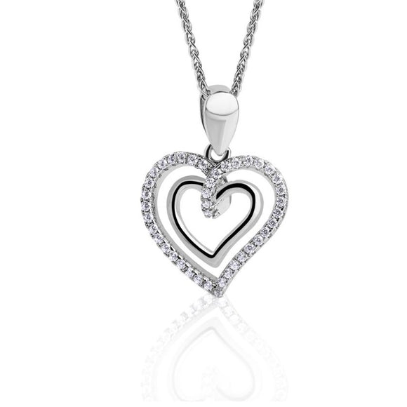 Real Effect Sterling Silver Double Heart Pendant