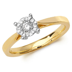 9ct Yellow Gold, Diamond Illusion Solitaire Ring