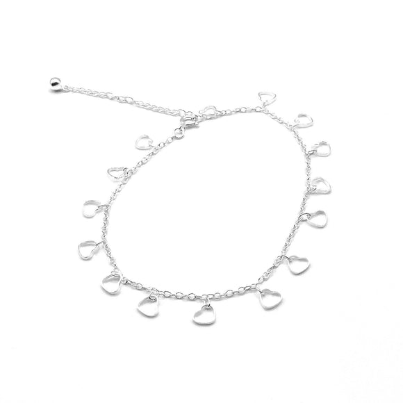 Cut Out Heart Adjustable Anklet - Silver - Maudes The Jewellers