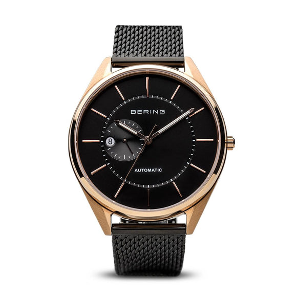Bering Automatic Polished Brushed Rose Gold Men's Watch 16243-166 - Maudes The Jewellers
