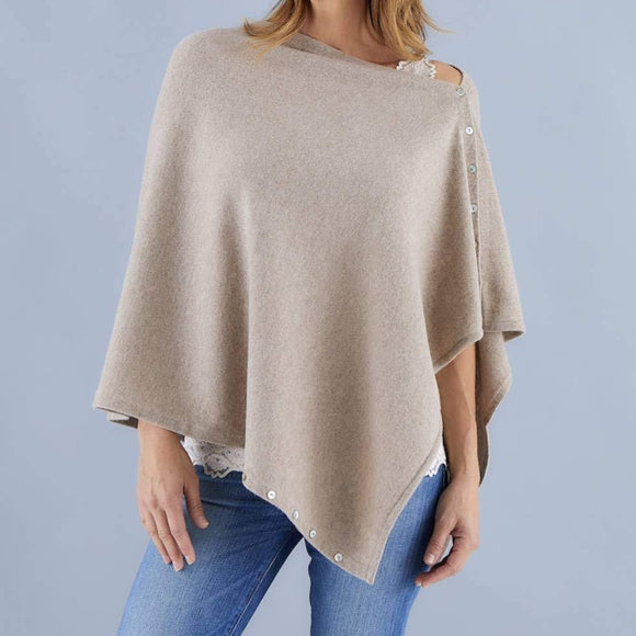 Love Molly - Latte - Wool, Silk & Cashmere Poncho