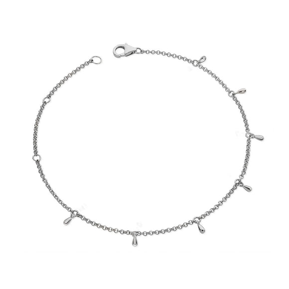 Lucy Quartermaine Sterling Silver Ladies Multi Drop Anklet - Maudes The Jewellers