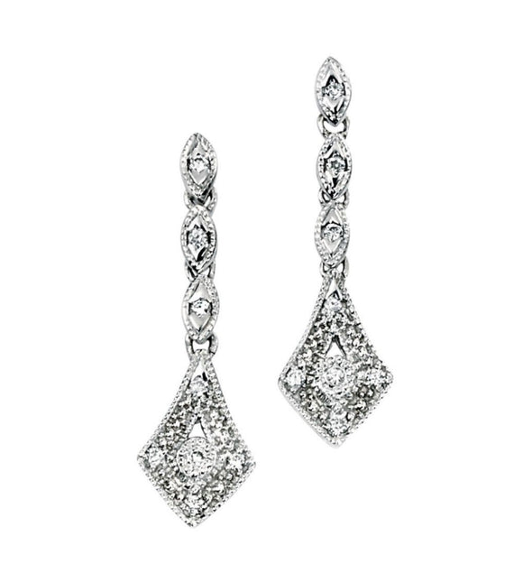 9ct White Gold and Diamond Vintage Style Drop Earrings