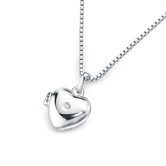 D for Diamond Children's Sterling Silver Heart Locket