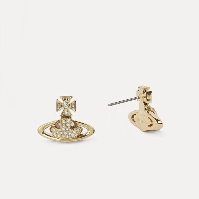 Vivienne Westwood Sorada Bas Relief Earrings - Gold Crystal - Maudes The Jewellers