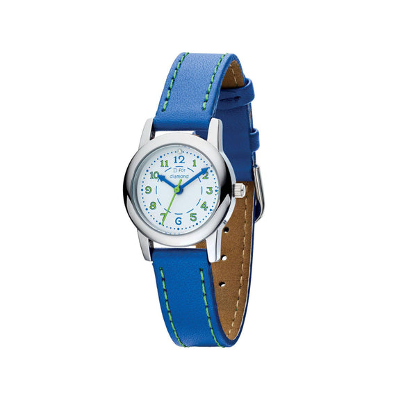 D for Diamond Blue Leather Strap Children's Watch