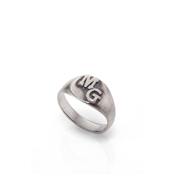 silver initials ring