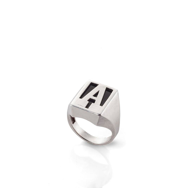 silver big letter signet ring