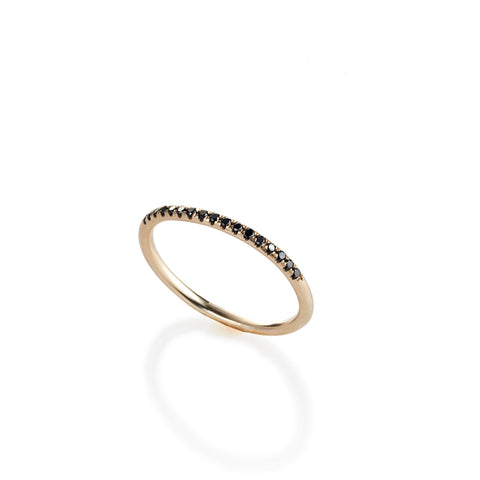 14k gold ring with black diamonds