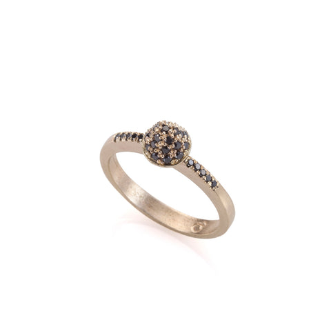 14k gold spike ring with black diamonds