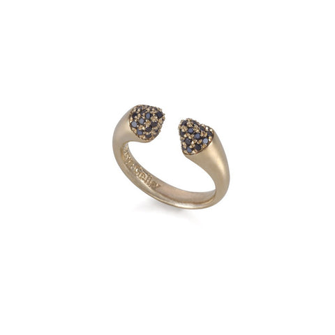 14k gold cone ring with black diamonds