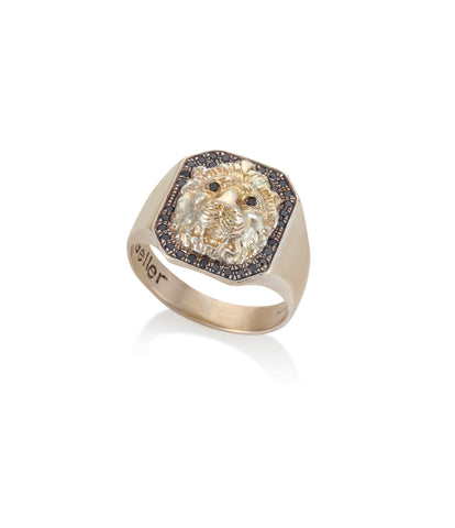 14K GOLD LION RING WITH BLACK DIAMONDS