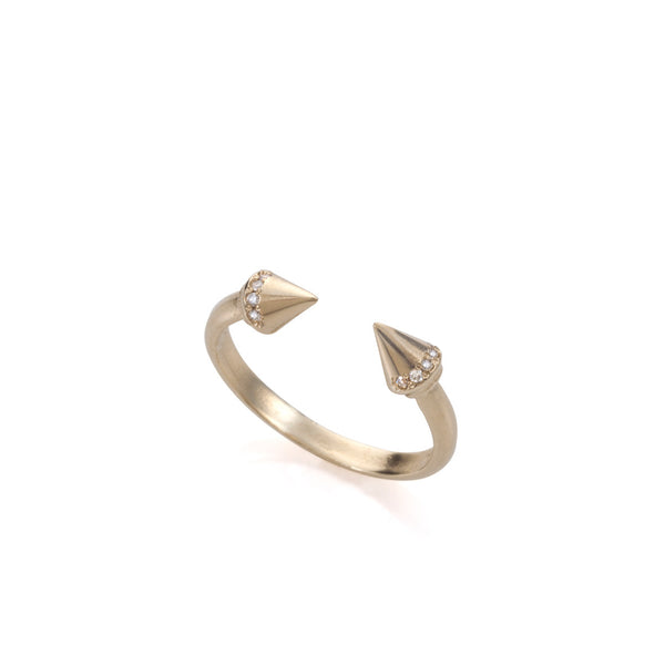 14k gold open ring with diamonds