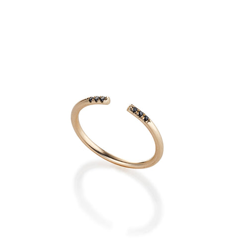 14k gold open ring with 6 black diamonds